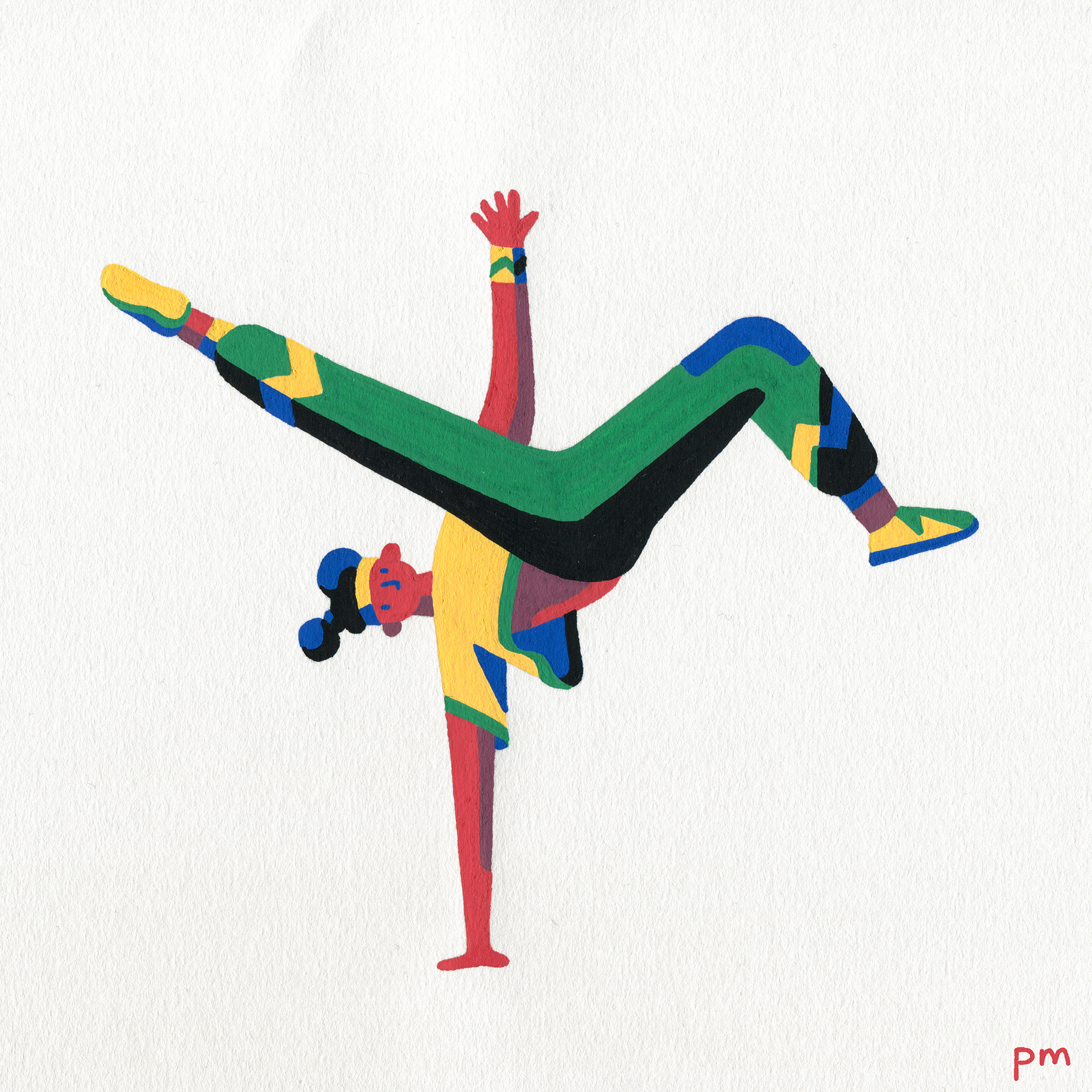 An illustration painting of a breakdancer dancing, hand drawn with colourful posca markers