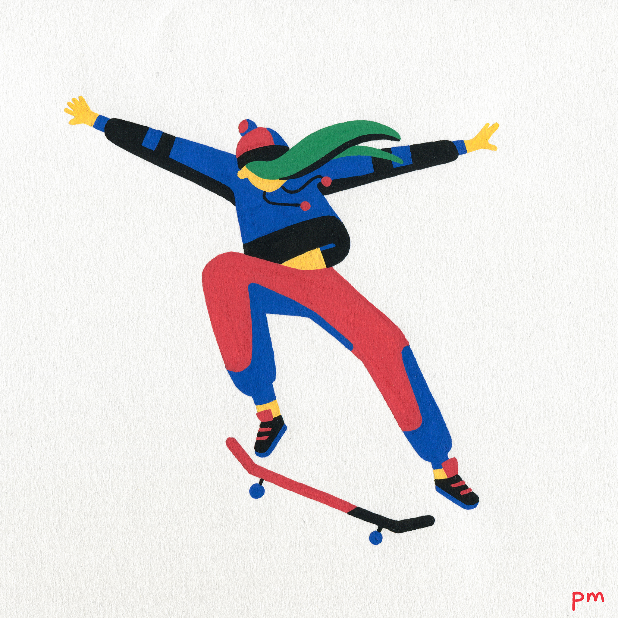 Here is a painted illustration of a woman skateboarder, she is performing a skateboard jump, illustrated for my sports series 'In Motion'