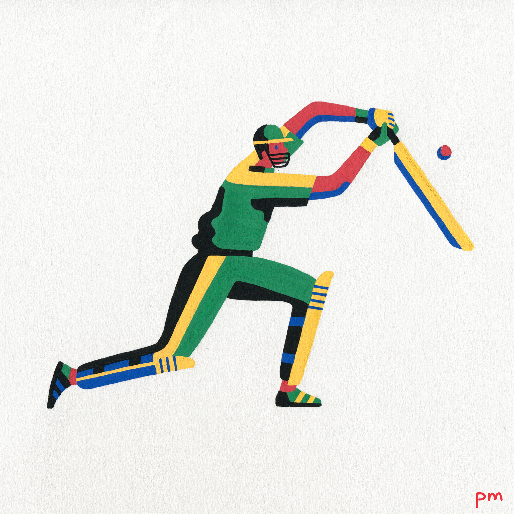 Here is a painted illustration of a batsman playing cricket, I hand drew these using posca markers