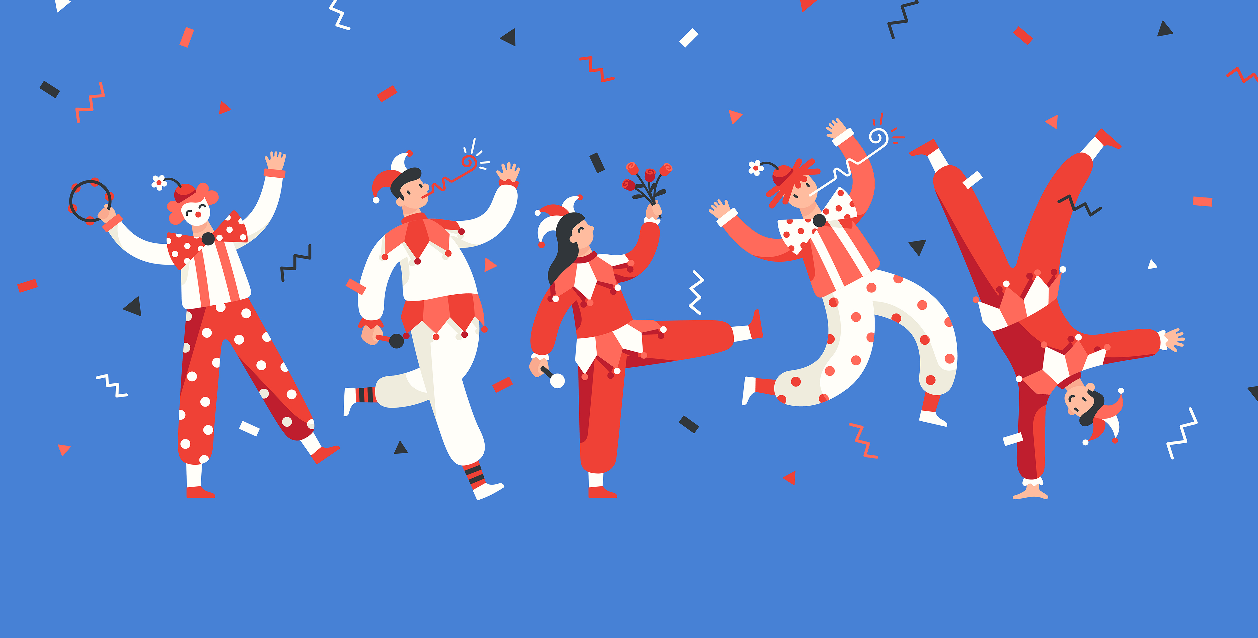 This image is an illustration of clowns and jesters created for Google Play, celebrating Germany's carnival season and Rose Monday
