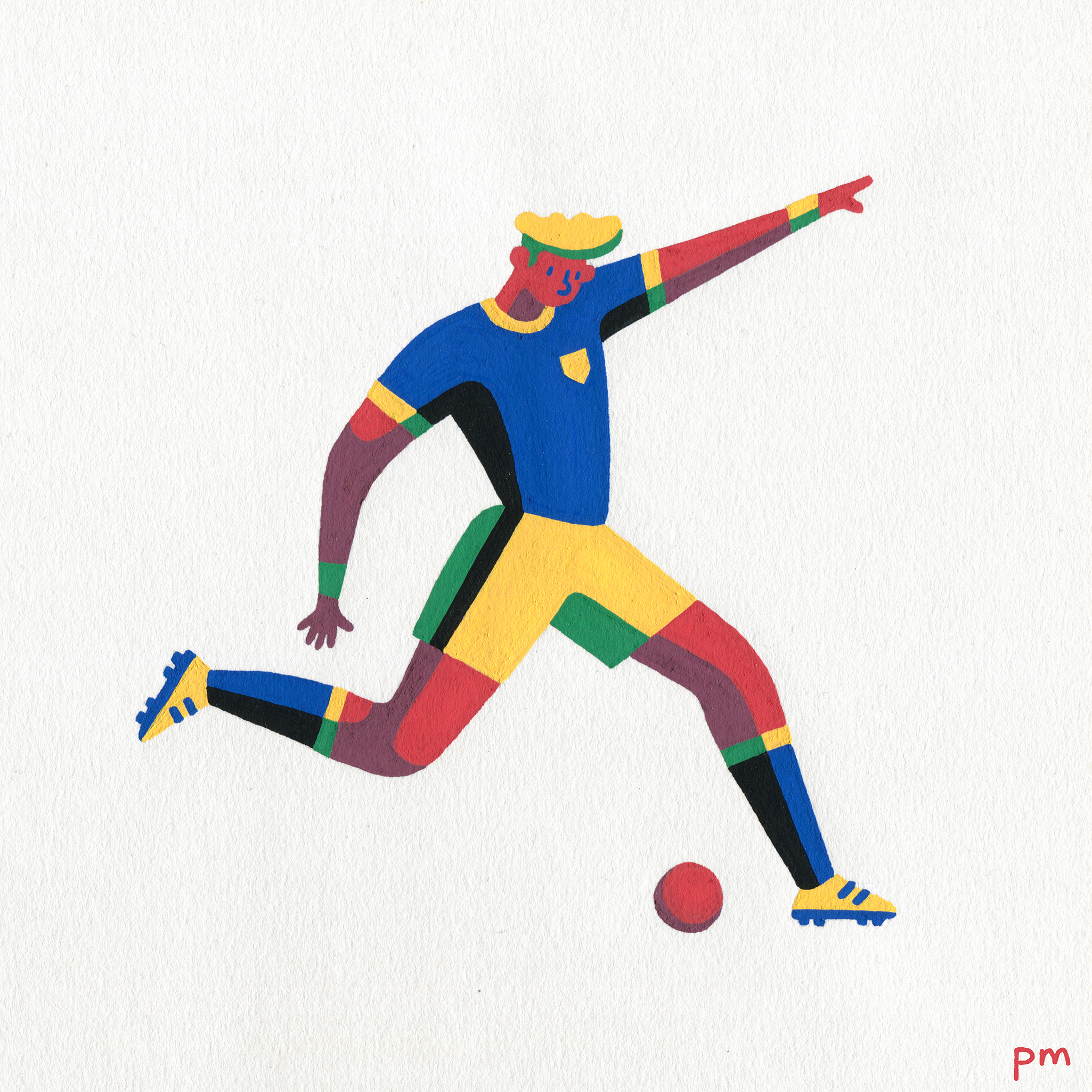 I illustrated this footballer for the football World Cup, painted using colourful posca markers.