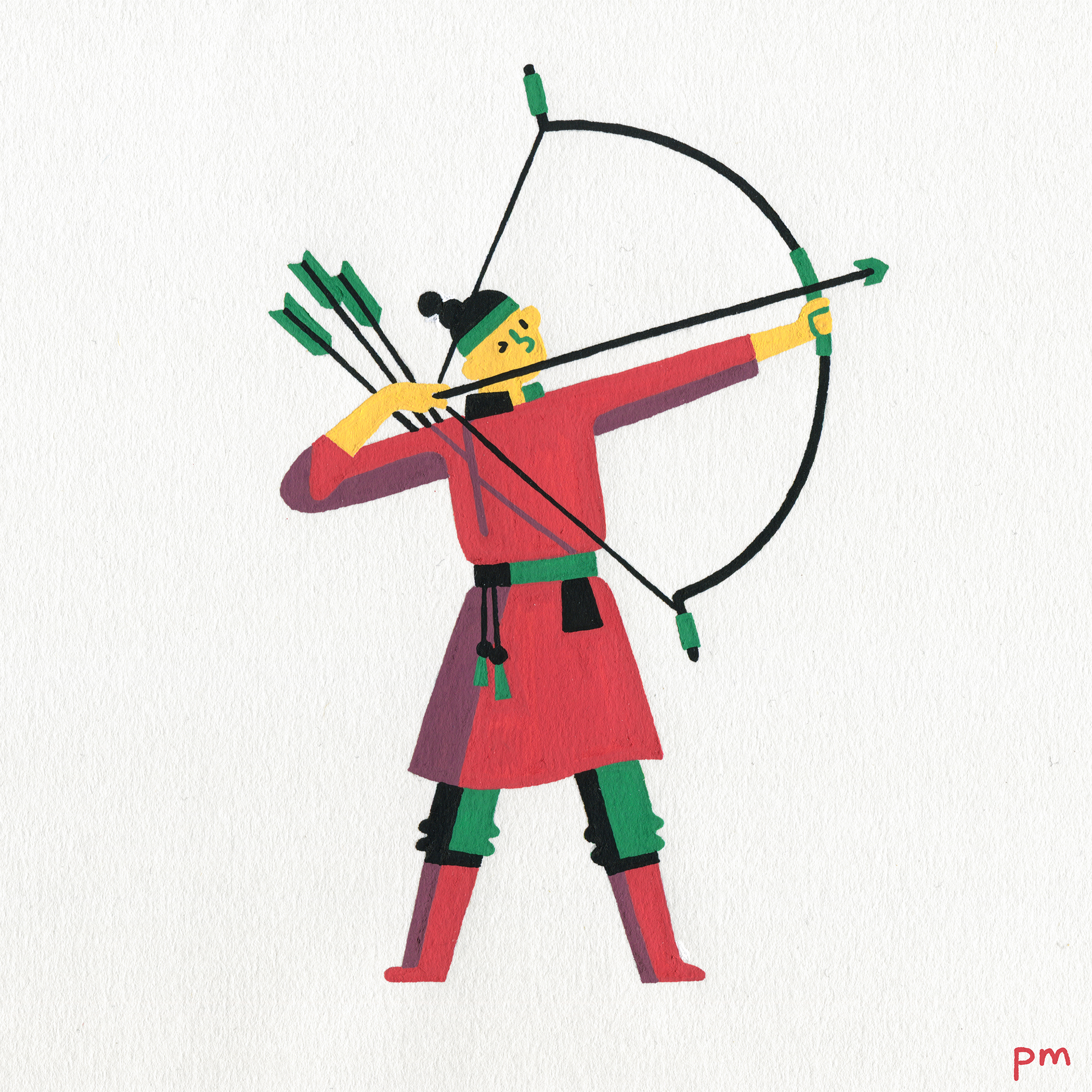 Here is an illustration of a Mongolian archer character for my illustrated sports series.