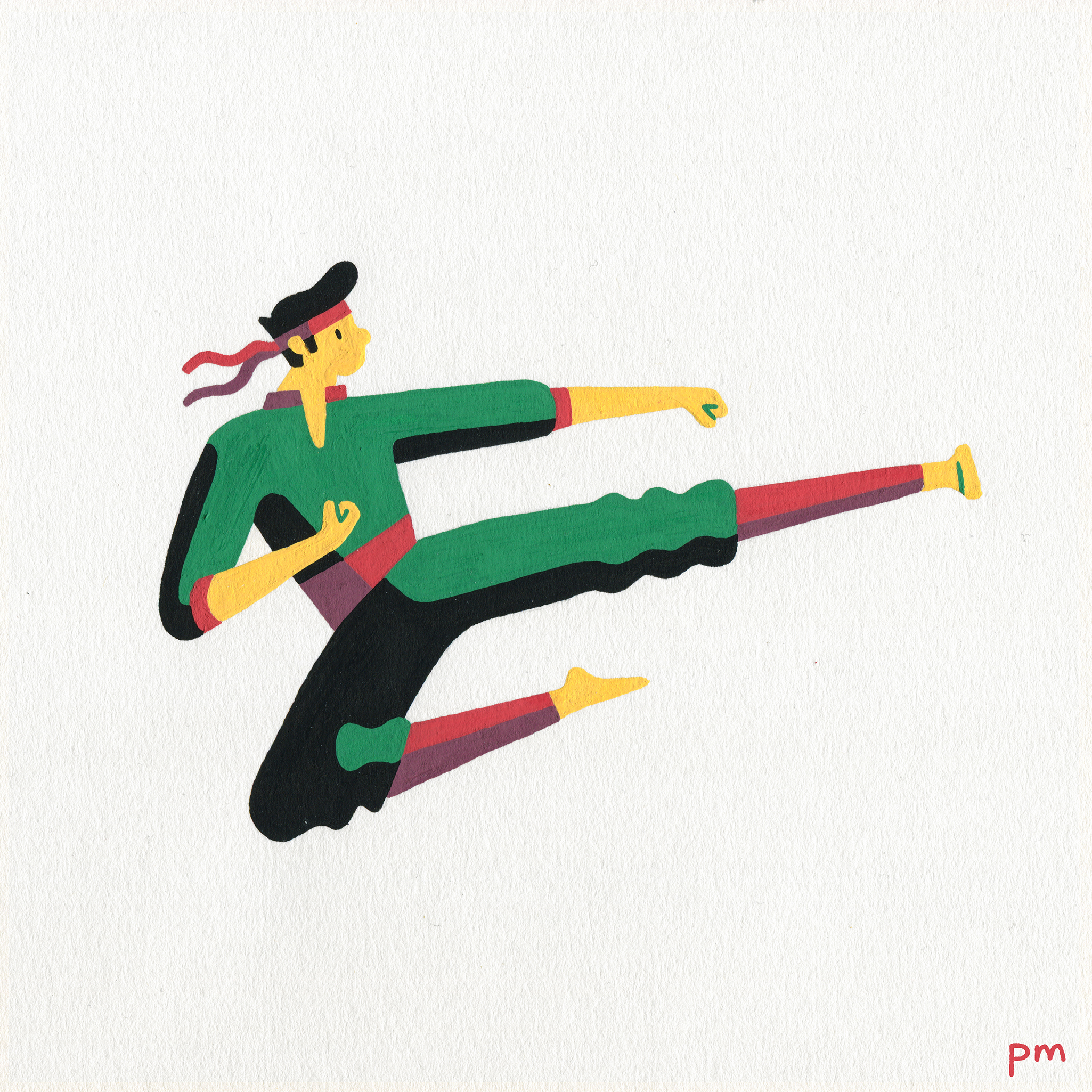 Illustrated martial arts character, displaying a flying-kick karate move for my sports series 'In-Motion', hand-drawn using posca markers.