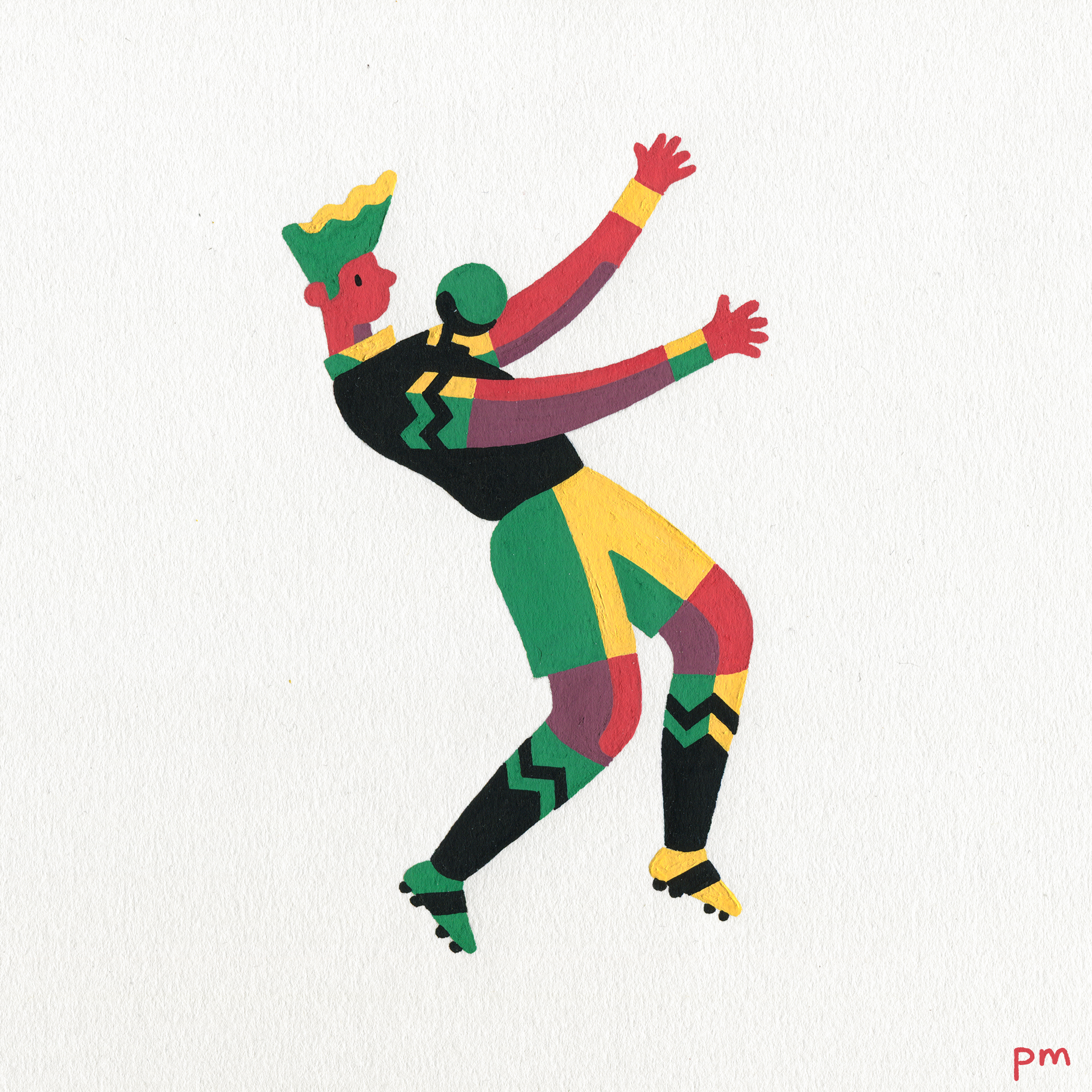 This is an illustration from my series 'In-motion', hand painted using colourful posca markers, this lad was for the world cup