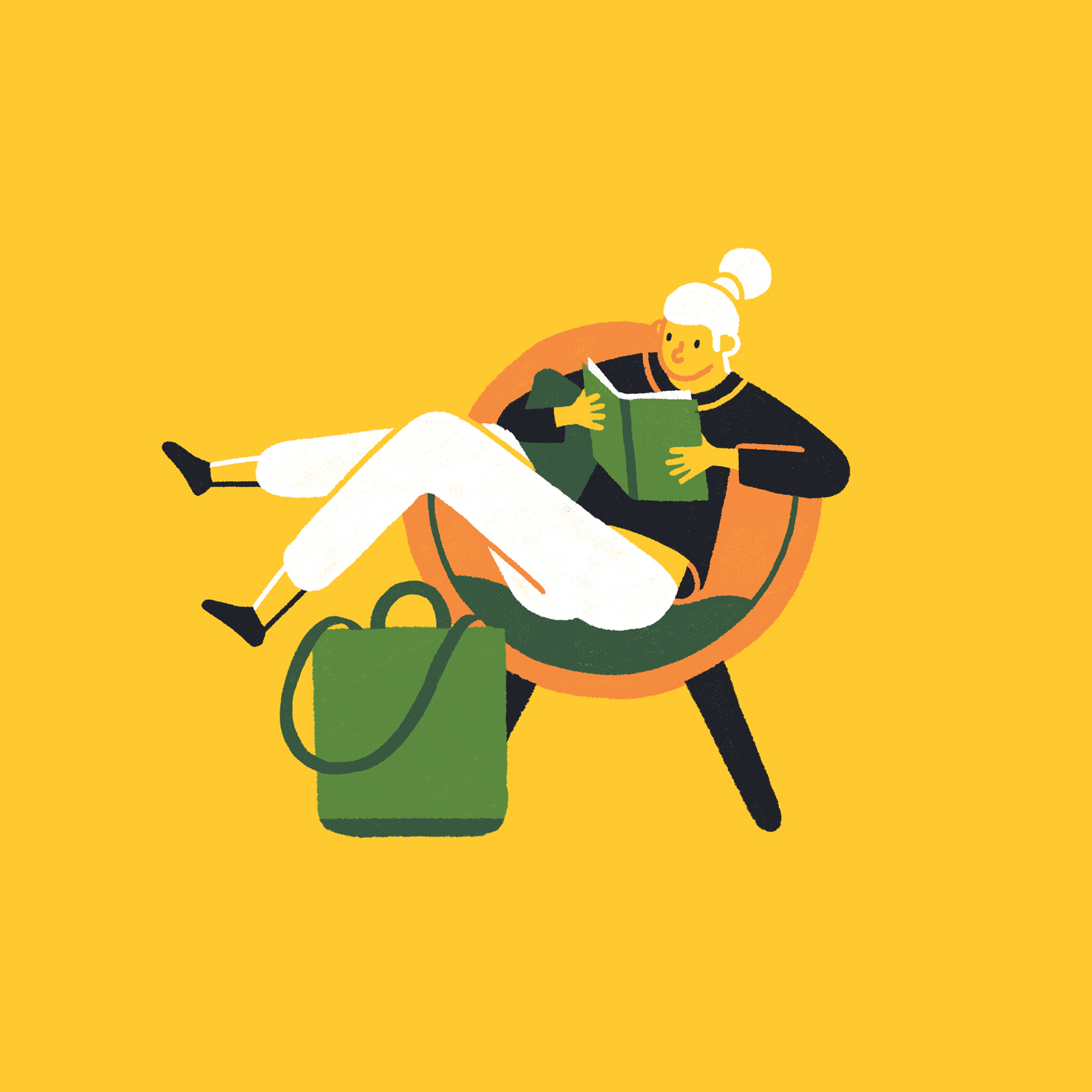 This is an illustrated thumbnail for an editorial for Monocle magazine of a lady relaxing