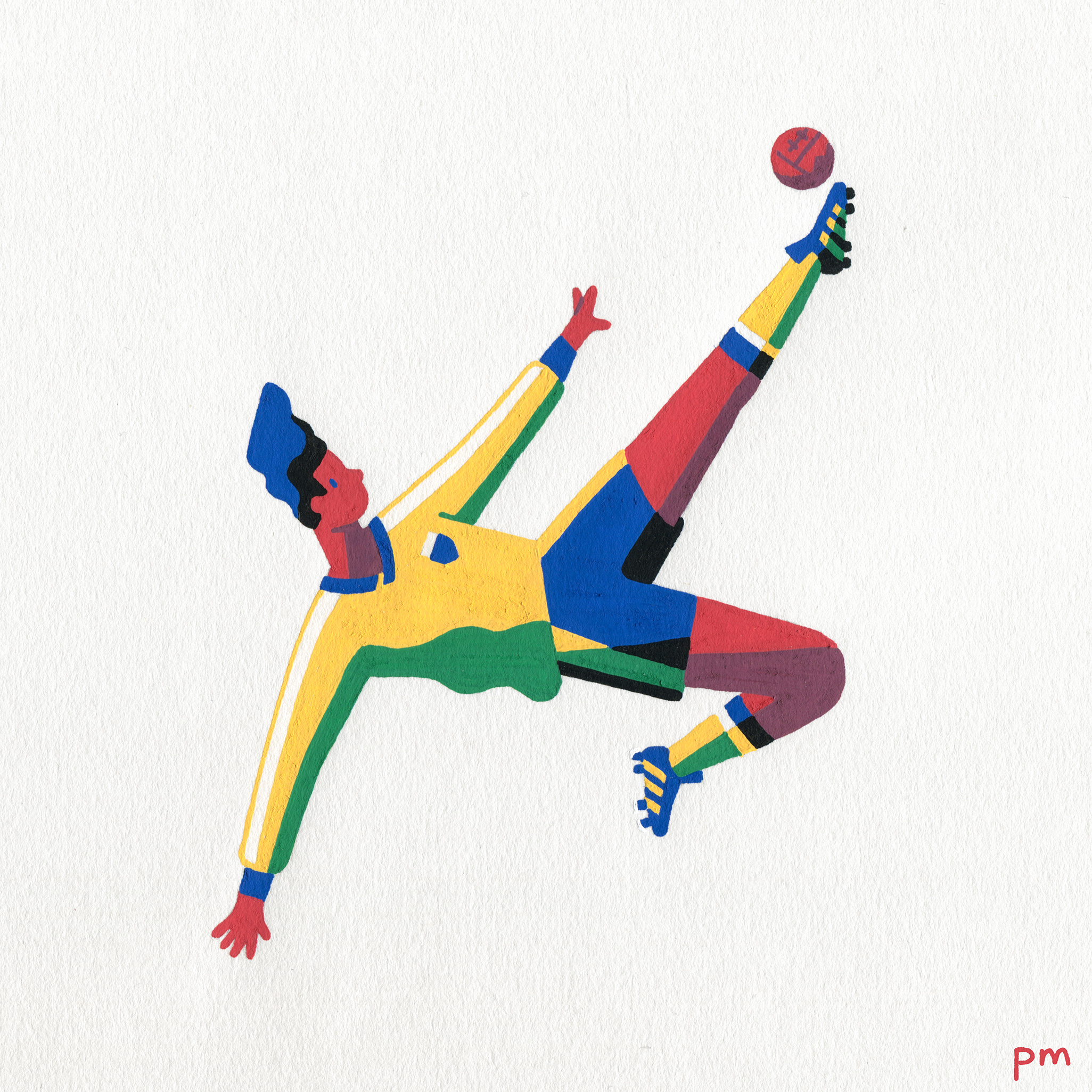 This is a illustration painting of a footballer wearing the colours of Brazil for my illustrated series 'In-motion'