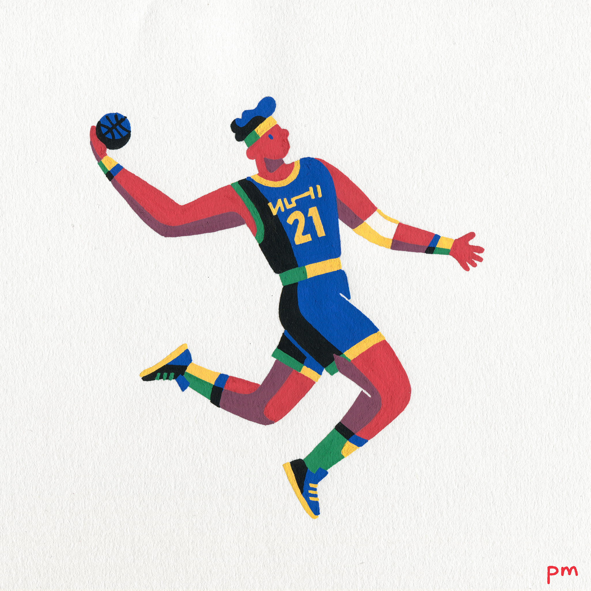 Here is an illustrated basketball player, mid air about to slam dunk created for my sports series, In Motion, inspired by the NBA season
