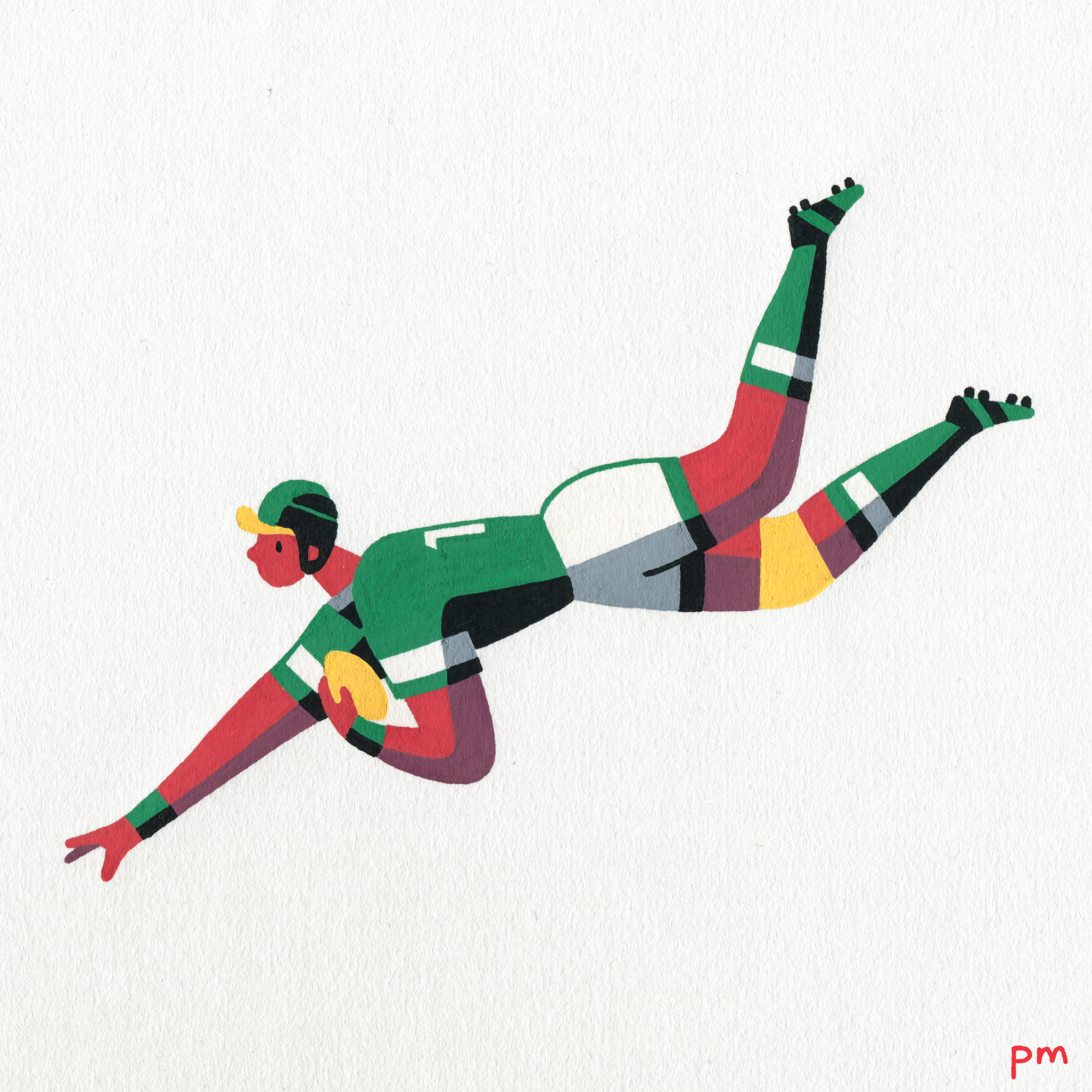 This is a hand painted illustration of a rugby player about to score a try and was made for my illustrated sports series