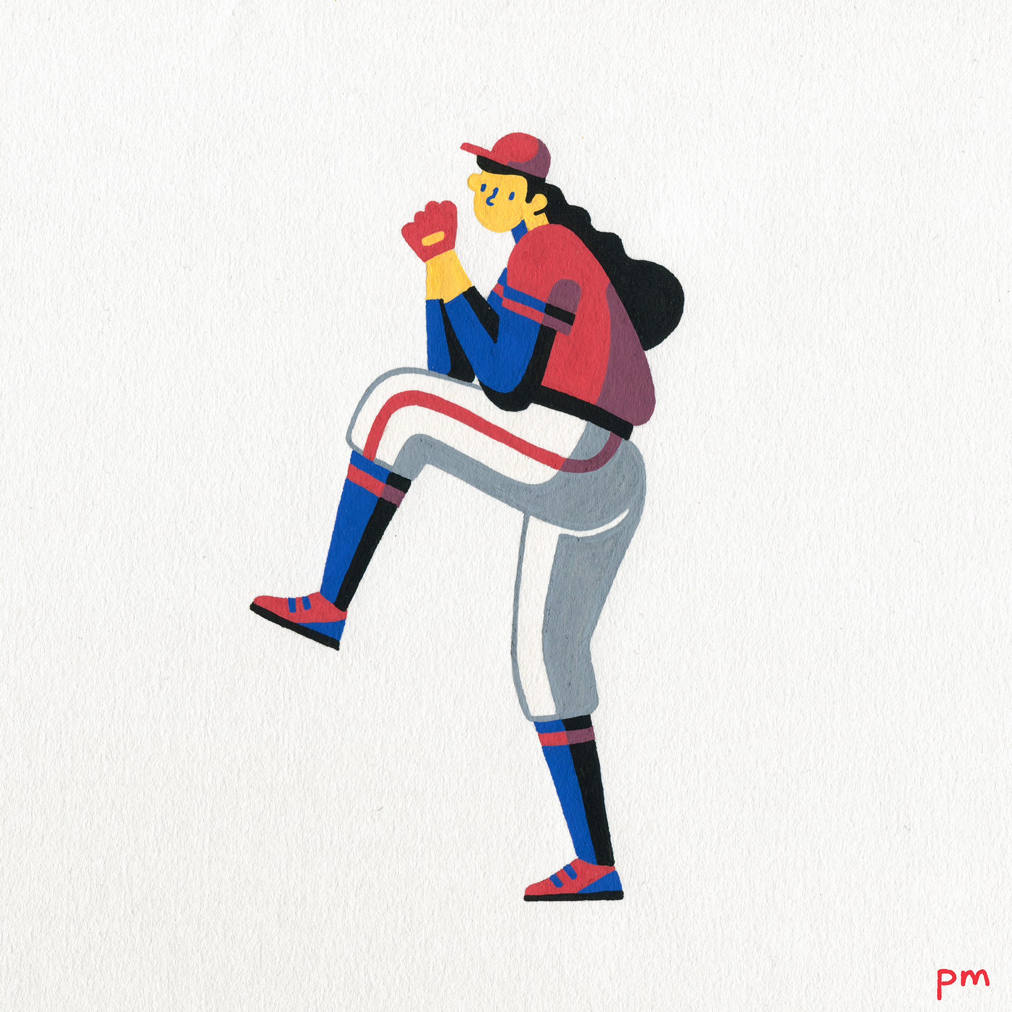 This is an illustration of a female baseball athlete about to pitch, wearing American colours for my illustrated sports series