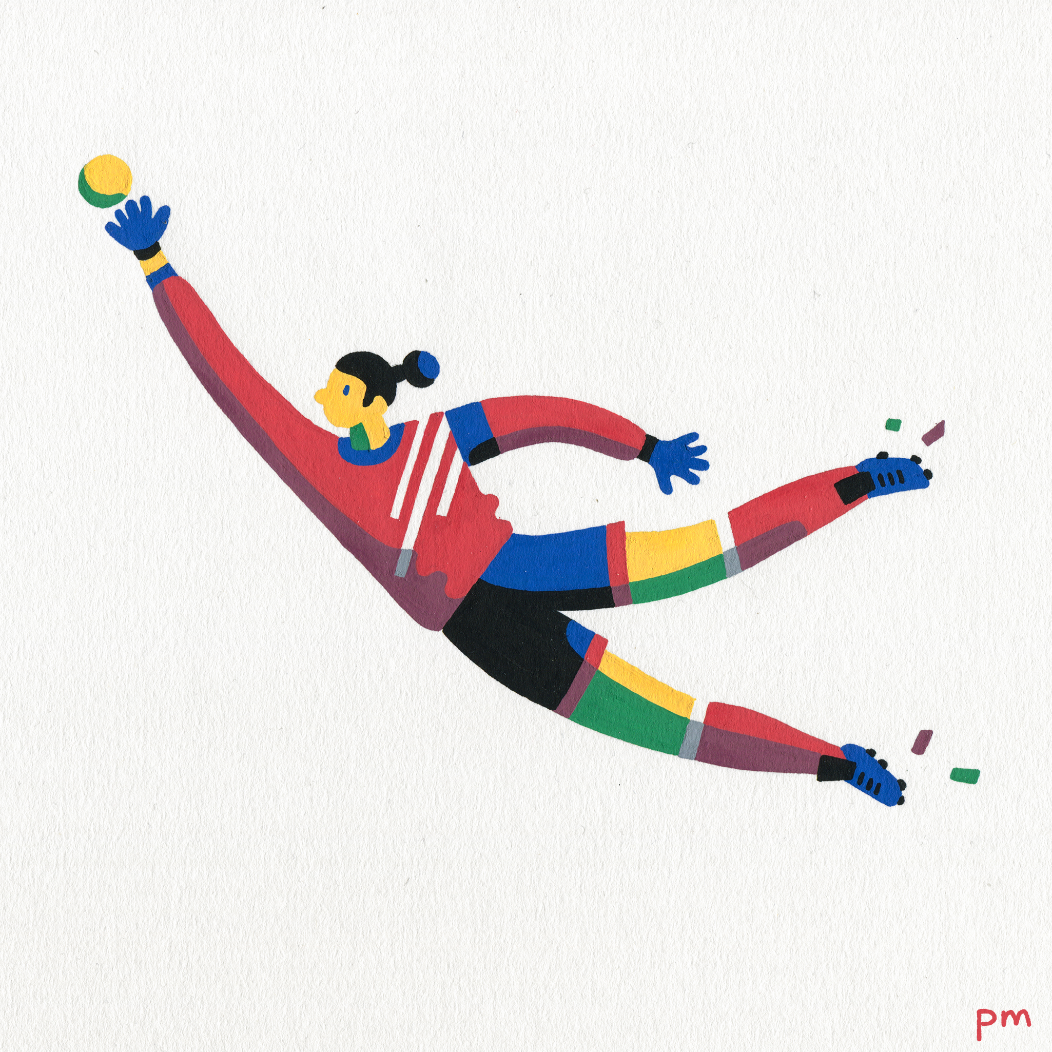 Here's an illustration from my series 'In-motion', hand painted using colourful posca markers, this lady was created for the world cup.